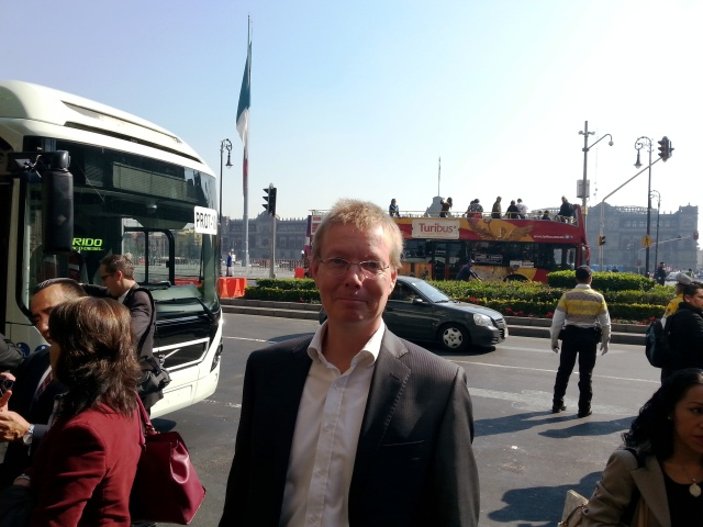 7900 Articulated Hybrid and my Self at the Plaza de la Constitution in Mexico City.
